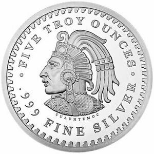 Aztec-Warrior-amp-Calendar-Mexico-5-oz-Silver-999-Fine-Coin-Brilliant-Uncirculated