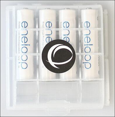 4 x Eneloop Panasonic AAA Akku LR03 + EWANTO Aufbewahrungsbox Batteriebox