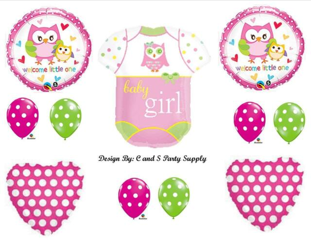BABY GIRL OWL ONESIE BALLOONS Decorations Supplies Baby Shower Happi Tree