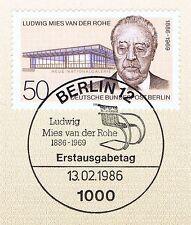 Berlin 1986: Ludwig Mies van der Rohe Nr 753 mit Ersttagssonderstempel! 1A! 1702