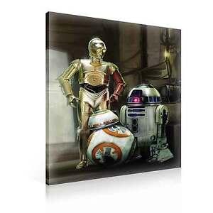star wars force awakens r2d2 c3po bb8 leinwand bilder wandbild ppd1934dk ebay. Black Bedroom Furniture Sets. Home Design Ideas