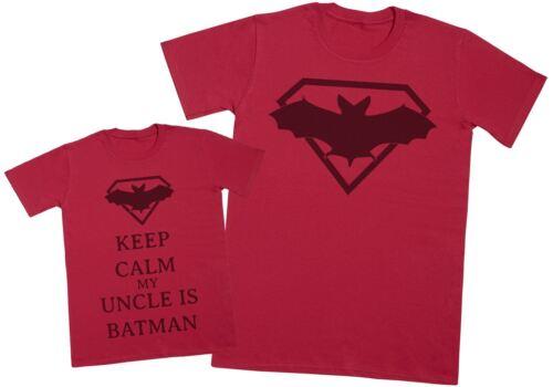 Keep Calm meu Tio É Batman Presente Infantil Tio correspondentes Set-Masculino Camiseta /& Kid/'s