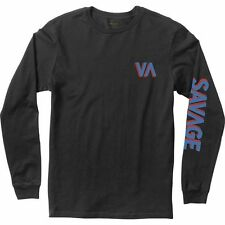 NWT MEN'S RVCA SIZE MEDIUM LONG SLEEVE SAVAGE T-SHIRT BLACK GRAPHIC TEE SKATE