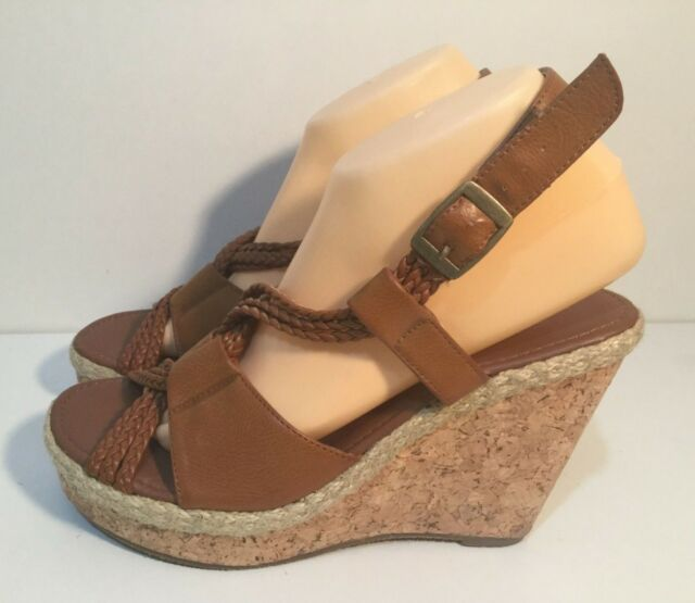 Just Jeans Size AU 9 / EUR 7 / UK 7 Women's Open Toe Ankle Buckle Wedge Shoes