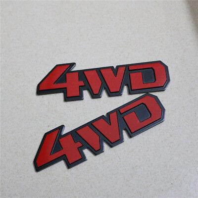 2PCS Small 4WD Silver Metal Sticker Emblem Badge Racing Car v6 Decal suv Sports