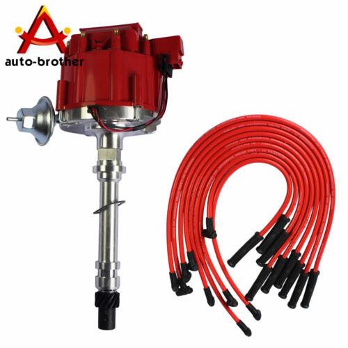 HEI Distributor /& 90 SPARK PLUG WIRES RED 10.5 MM For SBC BBC 305 350 454 V8