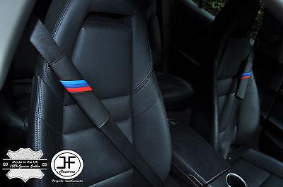 5X BLACK LEATHER /& BLACK STRIPE LUXURY SHOULDER SEAT BELT PADDED PADS