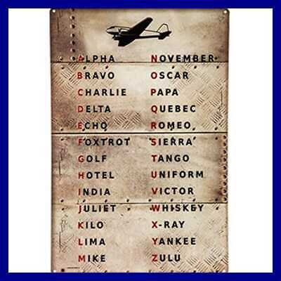 Pilot Code Aviation Metal Sign Phonetic Alphabet Alpha Bravo Charlie Sevengps Net