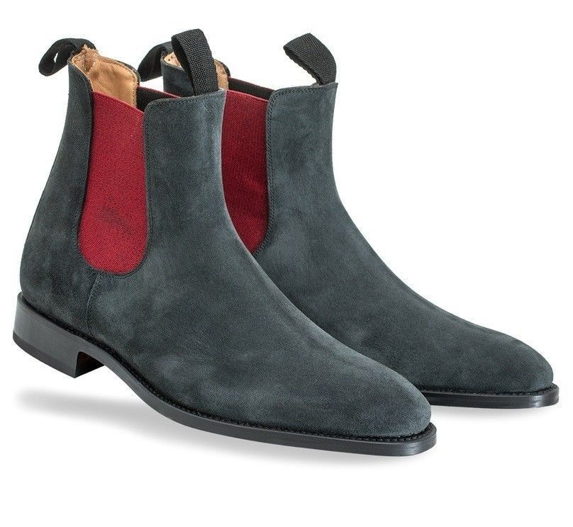 MEN NEW HANDMADE FORMAL SUEDE LEATHER DARK SHOES MENS DARK LEATHER GREY CHELSEA ANKLE BOOTS e20446
