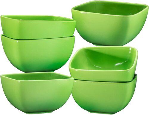 Bruntmor Ceramic Square Bowls Set of 6 Cereal Salad Pasta Bowls Set 26 Oz Green