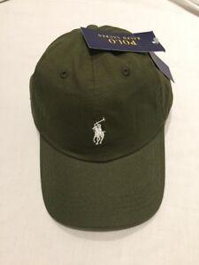 Adults-Size-Ralph-Lauren-Polo-baseball-hats-khaki-green-amp-white-pony-70-off