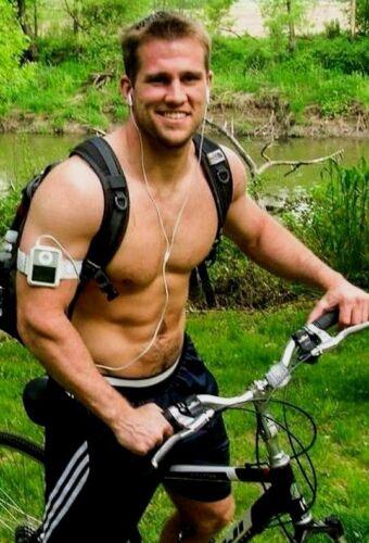 Shirtless Muscular Male Beefcake Athletic Bike Hunk Workout Jock PHOTO 4X6 F1697