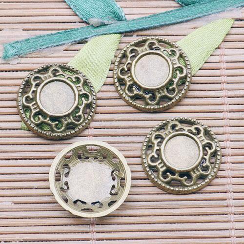 EF2599 18pcs Antique Bronze Color Round Cabochon settting cabochon taille: 7 mm