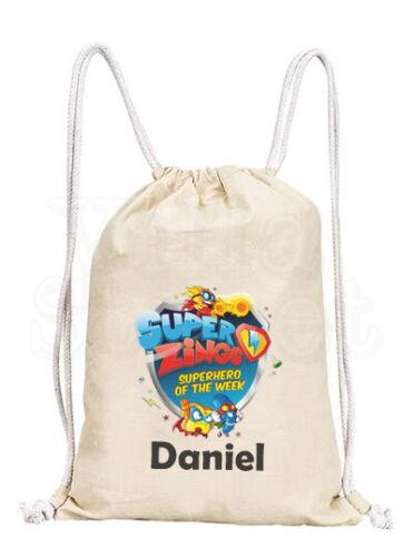 Personalised Childrens Superzings Cotton Canvas Drawstring Gym PE Bag