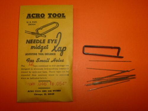 """ACRO TOOL .046/"""" to .054/"""" NEEDLE EYE MIDGET LAP 12 NEW!"""