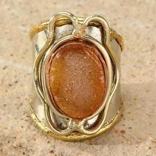 New Tara Mesa Yellow Drusy Quartz Knuckle Ring ~ Size 8 Adjustable