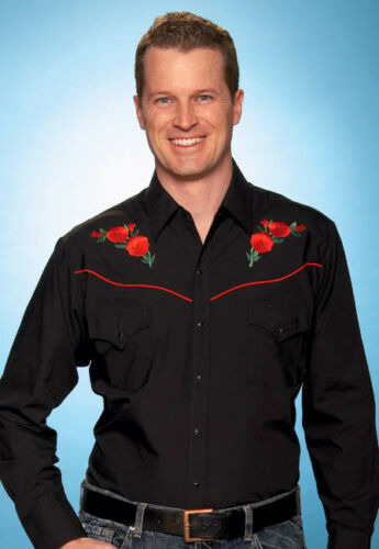 Mens Black Western Cowboy Shirt Embroidered Red Rose  Line Dancing Barn Dance