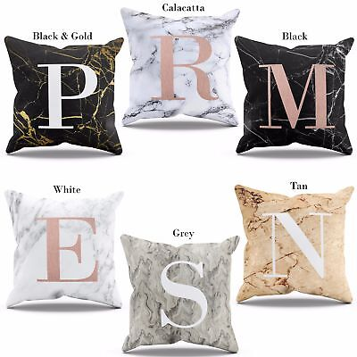 Marble Cushion With Initials Letter