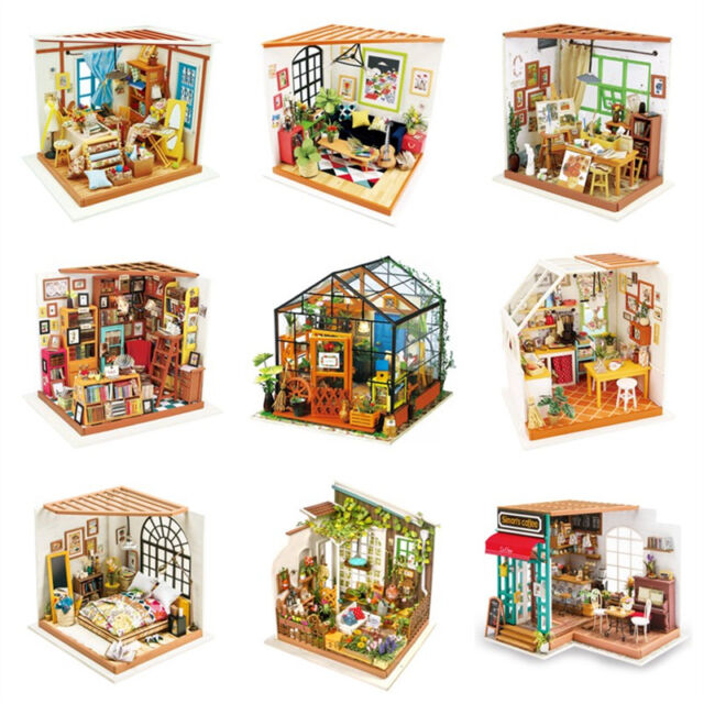 Kits DIY Wood Dollhouse Miniature with LED+Furniture+Cover Doll House Room Gift