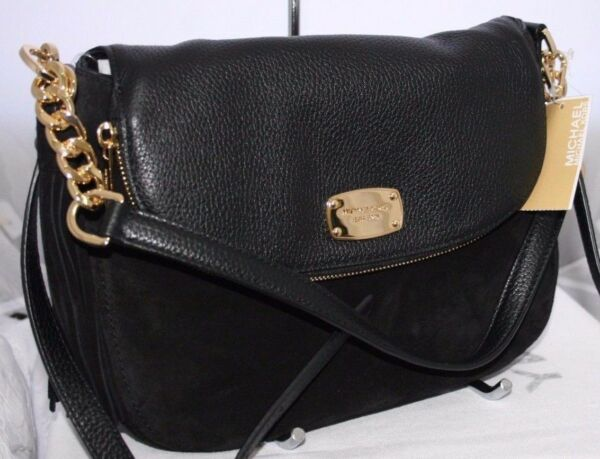 fe1892605305 Michael Kors Bedford Tassel Black Leather Convertible Shoulder Bag for sale  online