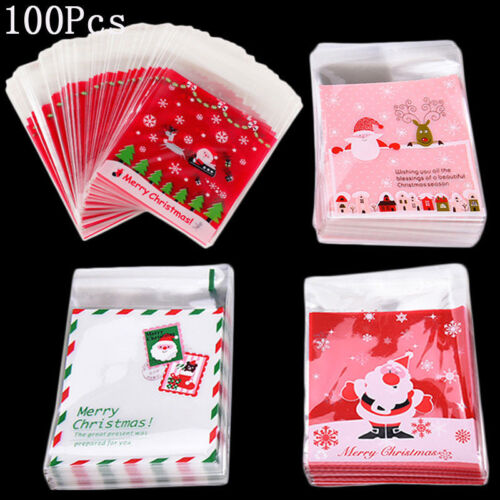 100X Self Seal Adhesive Christmas Cookies Candy Biscuit Gift Bag Cellophane