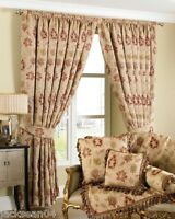 Luxurious Cream Red Tapestry Chenille 66 X 90 Pencil Pleat Thick Curtains