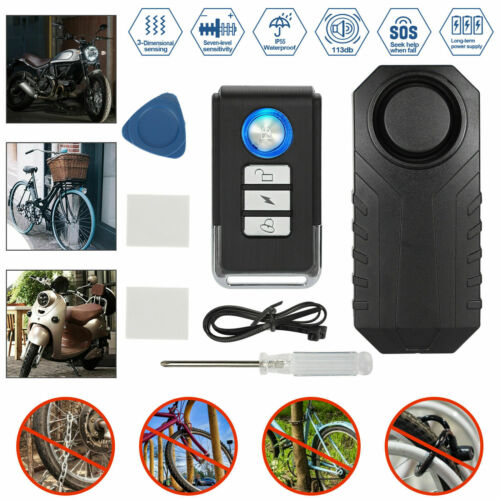113dB Wireless Bicycle Motorcycle Anti-Theft Alarm Vibration Remote Control P9Y5