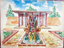 Acquerello '900 su carta Watercolor Architettura futurista cubista razionale-35