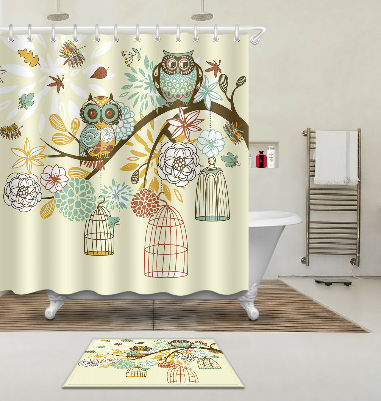 Shower Curtain Hooks Owl On The Branch Polyester Waterproof Fabric Bathroom Mat