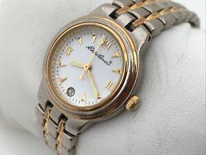 Eddie-Bauer-Women-Watch-Silver-Gold-Tone-Analog-Date-Calendar-Wrist-Watch-5ATM