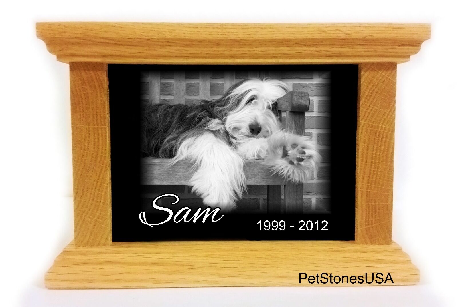 Pet Urn Memorial Stone Cremation Box Oak Wood 65 Engraved Husky Great Dane cat