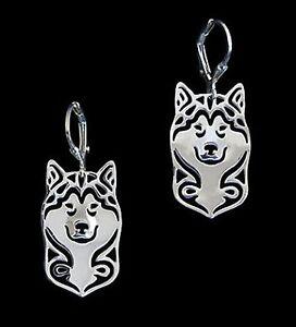 Alaskan-Malamute-Dog-Earrings-Fashion-Jewellery-Silver-Plated-Leverback