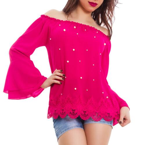 Blusa donna chiffon perle maniche campana maglia gitana camicia nuova AS-8513