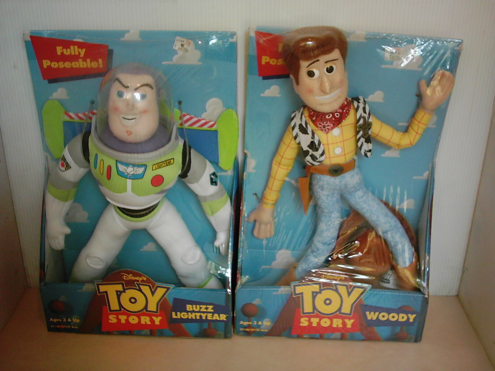 Toy Story Rare Woody & Buzz Fully Poseable Plush Figures Set of 2 1996 New