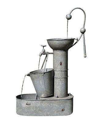 Designer Rustic Metal Bucket Indoor Outdoor Water Feature Fountain + Pump + WTY