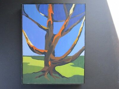 Original Tree Painting Acrylic On Canvas Framed Unsigned Color