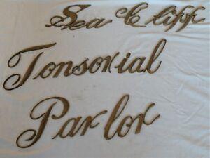 Details about ANTIQUE BARBER SHOP SIGN SCRIPT LETTERS- SEA CLIFF TONSORIAL  PARLOR - VICTORIAN
