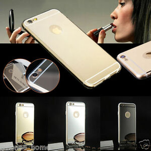 timeless design f1dd8 2246c Details about iPhone 6/6s & 6/6s Plus Mirror Jelly Case Cover + Apple Logo  Cutout FREE Postage