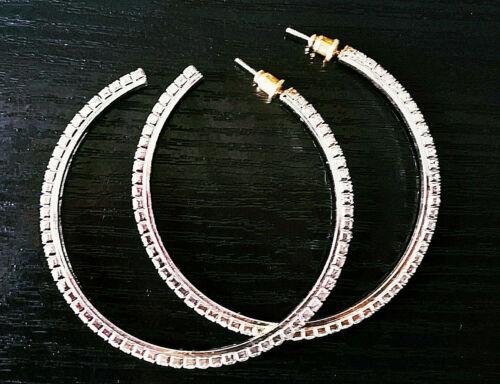 Creolen Ohrhänger STRASS Ohrringe 6,00cm Kristall klassik Gold Silber klassik