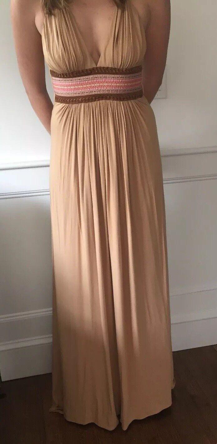 Nwot Sky Brand V Neckline Embroiderot Bodice Suede Größe M Maxi Dress