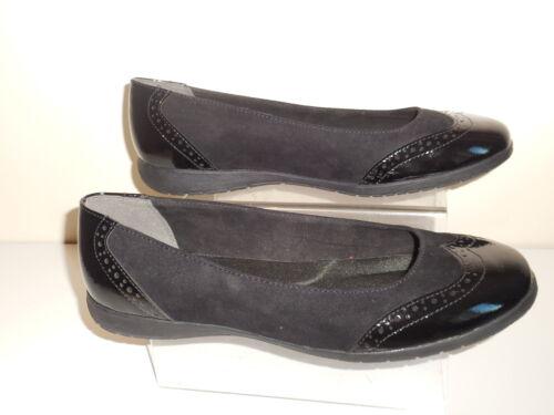 EEE BNWT ~~~ Evans Plat Noir Faux Daim//Verni Richelieu à Chaussures Taille 9 large Fit