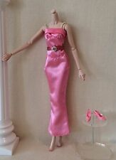 BARBIE DRESS PINK LONG BELTED EVENING PARTY DRESS & PINK SHOES VALENTINE'S DAY