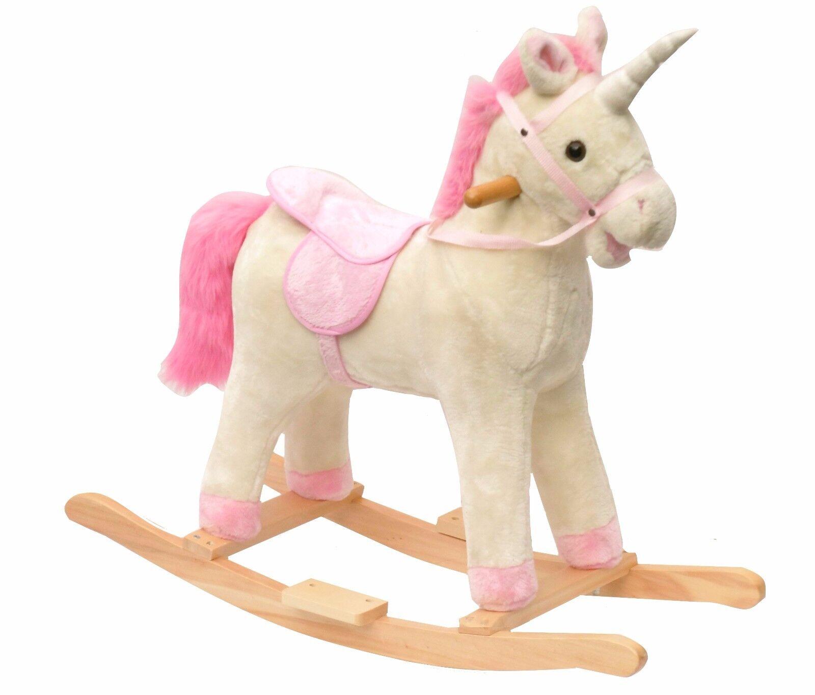 Einhorn Schaukelpferd in weiß und Rosa Rosa Mähne Einhorn Pferd Holz-kufen Sound