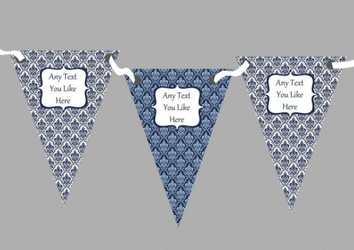 White Blue And Navy Floral Damask Personalised Retirement Party Bunting