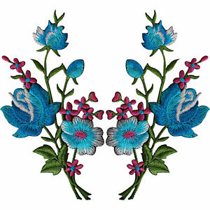 Pair-of-Flower-Embroidered-Patches-Iron-Sew-On-Floral-Patch-Craft-Applique-Motif