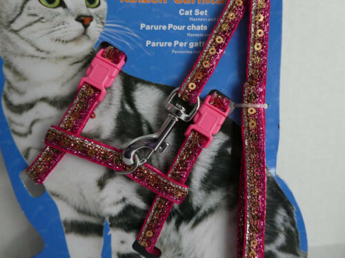 Sparkly Sequined Pink Blue /& Gold Cat Kitten Adjustable Harness /& Lead CH010