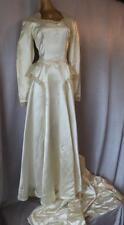 CANDLEGLOW SATIN Vintage WW2 1940s 50s FORMAL BRIDAL WEDDING DRESS GOWN