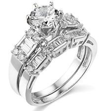 14k White Gold Round Cut Simulated Diamond Engagement Wedding Ring