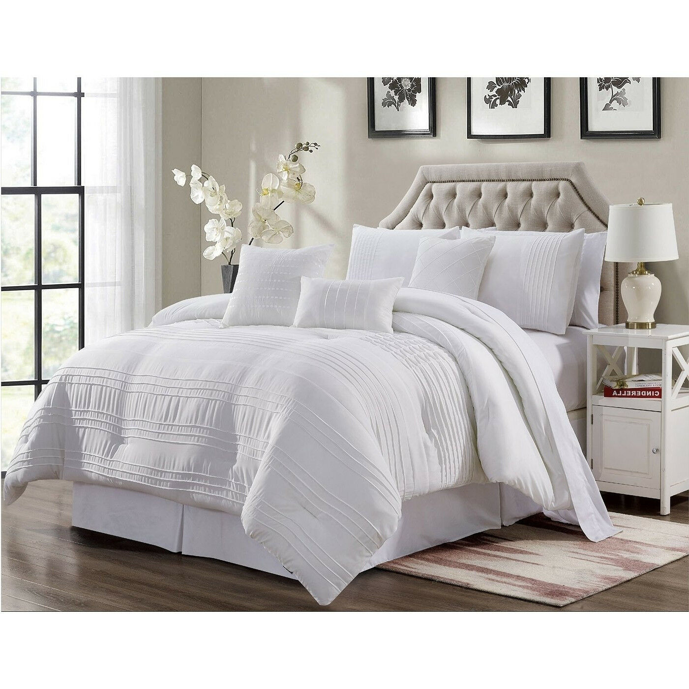 Deluxe Weiß Pleated Embroiderot 7 pcs King Queen Comforter Bedskirt Shams Set