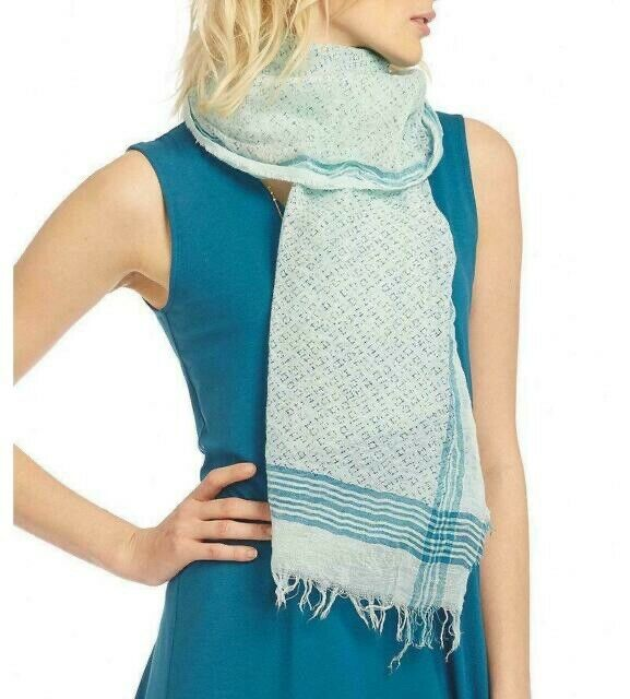 New Eileen Fisher Printed Linen Cotton with Borders Scarf MSRP